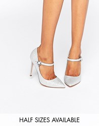 Asos Prima Pointed Heels Silver Glitter
