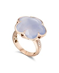 Pasquale Bruni 18K Rose Gold Bon Ton Light Blue Chalcedony And Diamond Floral Ring Blue Rose Gold