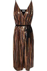 Robert Rodriguez Woman Wrap Effect Sequined Striped Woven Dress Multicolor