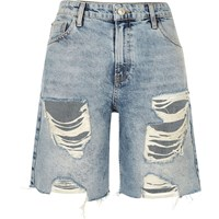 River Island Womens Mid Wash Ripped Denim Boyfriend Shorts