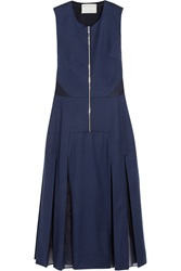 Richard Nicoll Silk Organza Paneled Wool Blend Flannel Dress
