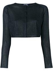 Max Mara 'S Cropped Lurex Cardigan Viscose Metallic Fibre L Blue