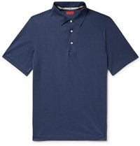 Isaia Silk And Cotton Blend Polo Shirt Navy
