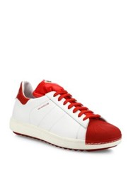 Moncler Leather Lace Up Sneakers Ivory