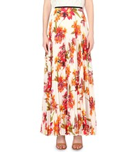Karen Millen Orchid Print Maxi Skirt Multi Coloured