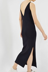Topshop Knitted Strappy Slip Dress By Boutique Navy Blue