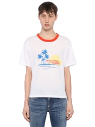 Saint Laurent Waiting For Sunset Cotton Jersey T Shirt White Red