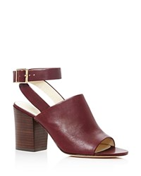 Bettye Muller Polish Ankle Strap Mule Sandals Dark Red