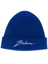 Balmain Ribbed Beanie Hat Blue