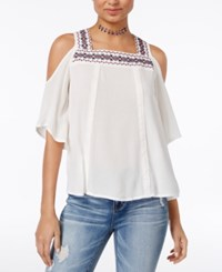 Almost Famous Crave Fame Juniors' Embroidered Cold Shoulder Top Cream