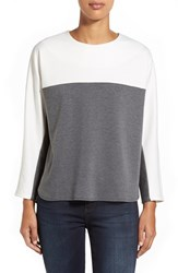 Petite Women's Everleigh Colorblock Sweatshirt White Heather Grey