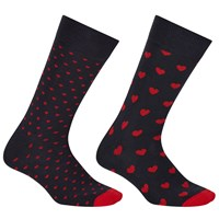 John Lewis Heart Socks Pack Of 2 One Size Black Red