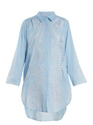 Juliet Dunn Embroidered Paisley Cut Out Cotton Shirtdress White Multi