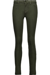 J Brand Stretch Sateen Skinny Pants Army Green
