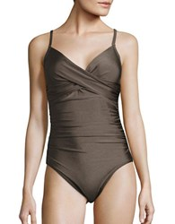 Calvin Klein Twist Front One Piece Swimsuit