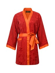 Shanghai Tang Silk Short Kimono With Leaves Pattern Red