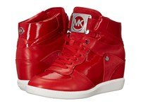 Michael Michael Kors Nikko High Top Crimson Patent Saffiano Sport Suede Suprema Nappa Sport Women's Lace Up Casual Shoes Red