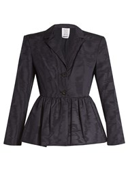 Rosie Assoulin Peplum Hem Silk And Wool Blend Moire Jacket Navy