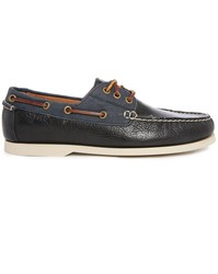 Polo Ralph Lauren Bienne Ii Two Tone Navy Leather Canvas Boat Shoes
