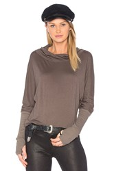 Michael Stars Luxe Slub Cowl Neck Top Green