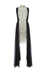 Marchesa Antique Silver Jeweled Necklace Cocktail Dress