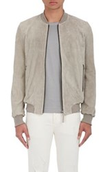 Barneys New York Men's Suede Bomber Jacket Grey