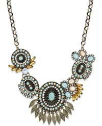 Bar Iii Gold Tone Mint Bead Floral Statement Necklace
