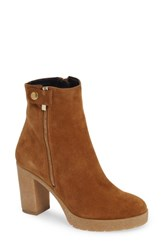 Amalfi By Rangoni Lupetto Side Zip Bootie Cognac Suede