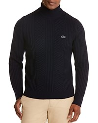 Lacoste Wool Mixed Rib Knit Sweater Navy Blue