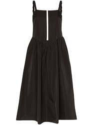 Sandy Liang Zip Up Front Strappy Midi Dress Black