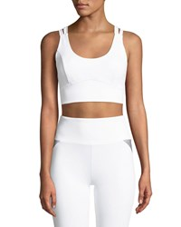 Lanston Kolton Scoop Neck Strappy Back Sports Bra White