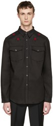 Givenchy Black Denim Star Patch Shirt
