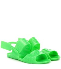 Off White Zip Tie Jelly Sandals Green