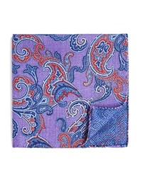 Bloomingdale's The Men's Store At Double Sided Paisley And Herringbone Pocket Square Lavender