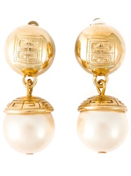 Givenchy Vintage Faux Pearl Drop Earrings Metallic