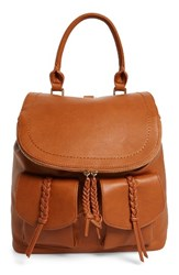Sole Society Dixon Faux Leather Backpack Brown Cognac