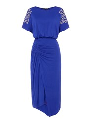 Biba Ruched Detail Heat Seal Shoulder Dress Cobalt