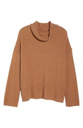Plus Size Bp. Chunky Thermal Cowl Neck Sweater Brown Cattail
