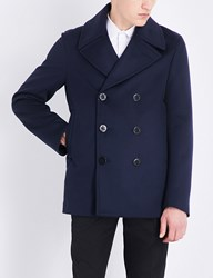 Alexander Mcqueen Double Breasted Wool And Cashmere Blend Peacoat Navy