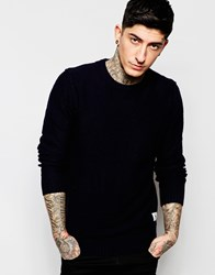 Bellfield Basic Crew Neck Jumper Navy