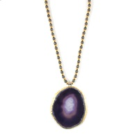 Amanda Marcucci Purple Agate Necklace With Hematite Pink Purple Gold