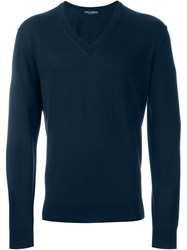 Dolce And Gabbana Fine Knit V Neck Sweater Blue
