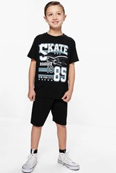 Boohoo Skate Tee And Jersey Short Set Black