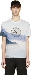 Band Of Outsiders Blue Pique Weave Clock T Shirt