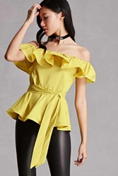 Forever 21 Off The Shoulder Ruffle Top Yellow