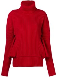 Antonio Berardi Ruffle Sleeve Sweater Red