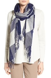 Eileen Fisher Women's Linen And Organic Cotton Check Scarf Midnight