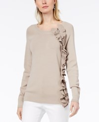 Inc International Concepts Metallic Ruffle Sweater Created For Macy's Toad Stool
