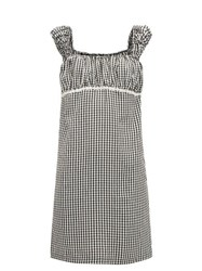 Solid And Striped Off The Shoulder Gingham Seersucker Mini Dress Black White