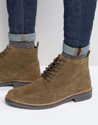 Frank Wright Suede Brogue Boots In Taupe Brown